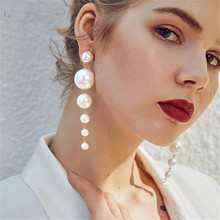 Trendy Elegant Created Big Simulated Pearl Long Earrings Pearls String Statement Dangle Earrings For Wedding Party Gift