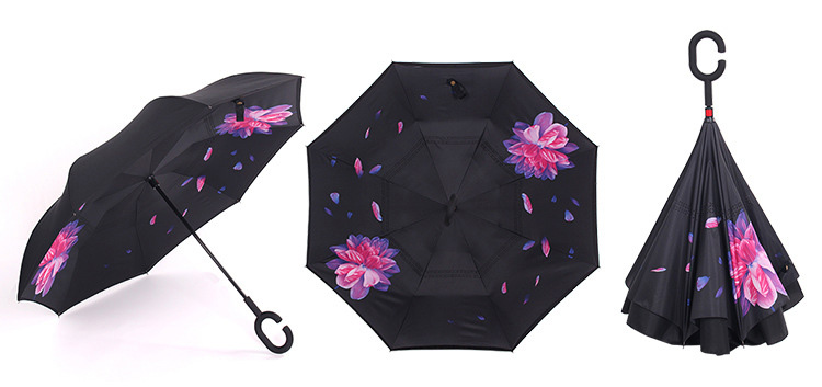 Creative Reverse Umbrella Windproof Reverse Folding Double Layer Umbrella  Self Stand Inside Out Rain C-Hook Hands For Car - us338 14f0b822a0