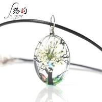 Luyun glass resin new oval tree of life real flower pendant necklace