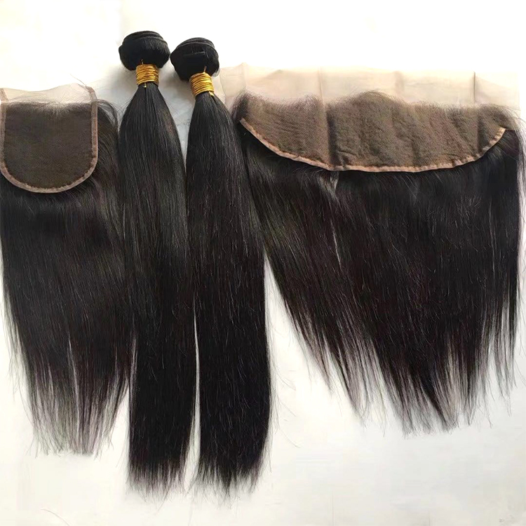 Purvian Virgin Hair Frontal Human Hair Bundles With Frontal Black Straight