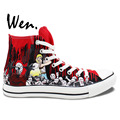 Wen Design Custom Red Hand Painted Shoes Walking Dead High Top Men Women s Canvas Sneakers