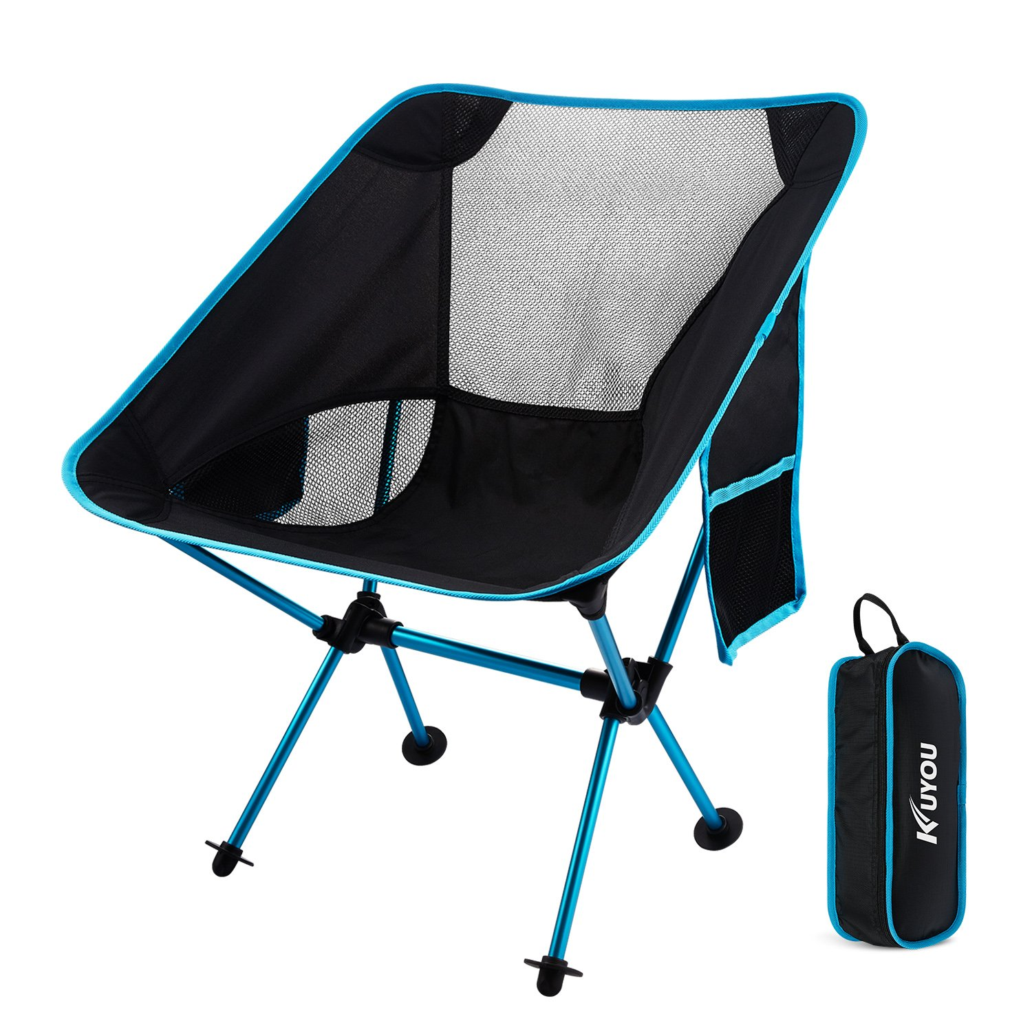 KUYOU Outdoor Fold Up Chairs, Beach Chairs Ultralight Portable Camping Chairs with Carry Bag for Hiker/Camping/Beach/Fishing/Outdoor Picnic