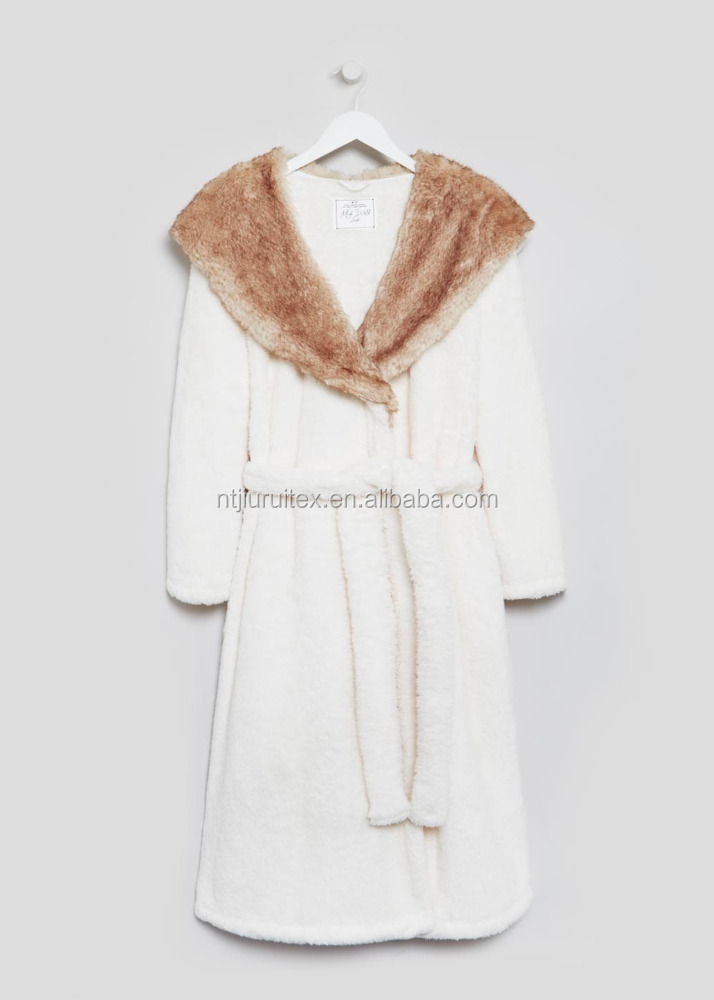 Faux Fur Hood Lined Dressing Gown - Buy Funky Dressing Gowns,Hooded ...