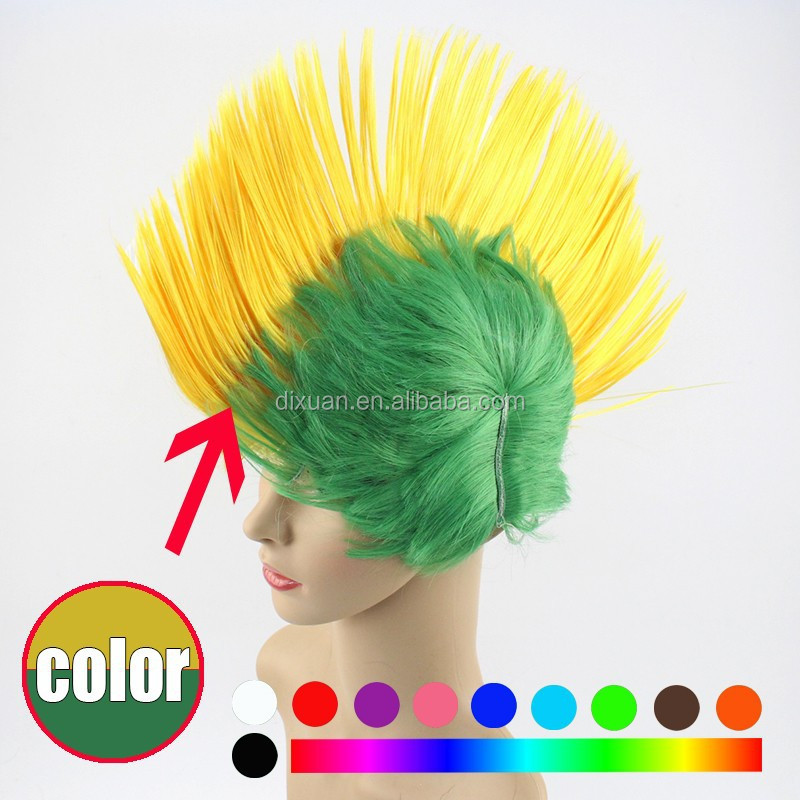 Rainbow Mohawk world cup football fans Wig Synthetic party Wigs Cockscomb Hair
