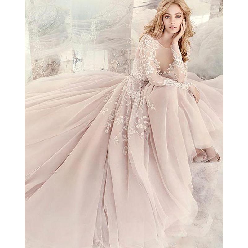 Simple Design Scoop Neck Long Sleeve Long A Line Tulle: Popular Light Pink Tulle Wedding Dress-Buy Cheap Light