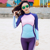 Women Zip Up Neckline Color Block Rashguard Top Long Sleeve Quick Drying Surf Suit Sunscreen Swimsuit Surfing Shirt Swimwear