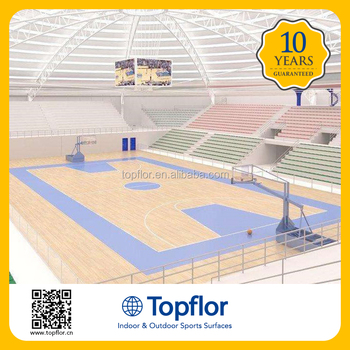 Topflor indoor used vinyl basketball court floor for sale for Indoor basketball court flooring cost