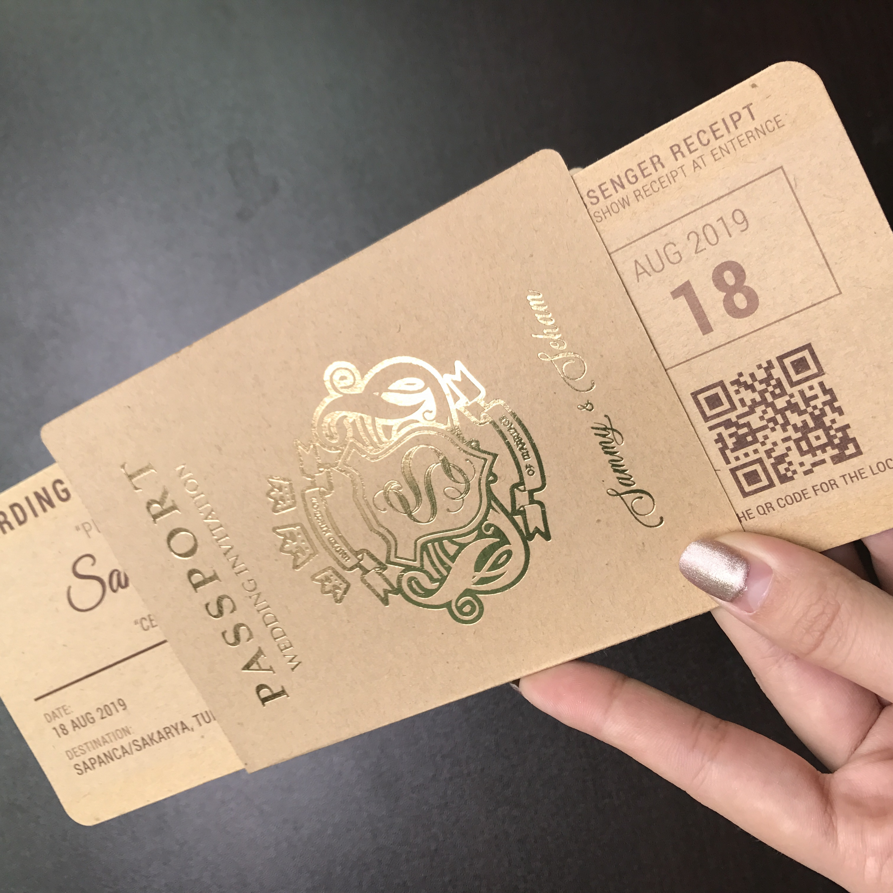 Chic Customized Passport Boarding Pass Wedding Invitation Cards
