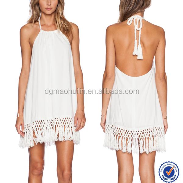 Espalda abierta blanco vestido suelto halter cierre mini for Suelto blanco suelto barato