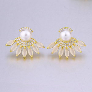 fashion jewellery gold and pearl earrings