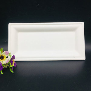 Factory sale food packaging bagasse paper compostable disposable rectangle Plate