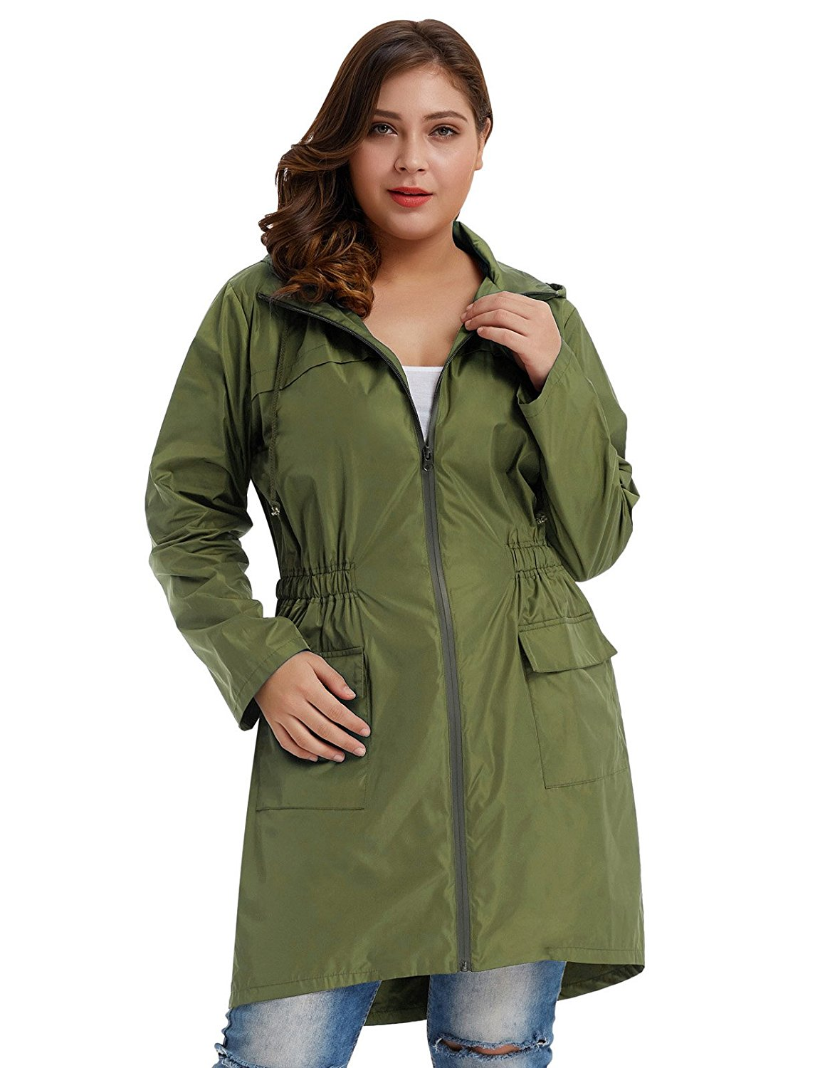 3a86ae58ae9 Get Quotations · Hanna Nikole Women Plus Size Lightweight Raincoat Travel  Hoodie Rain Jacket HN0037