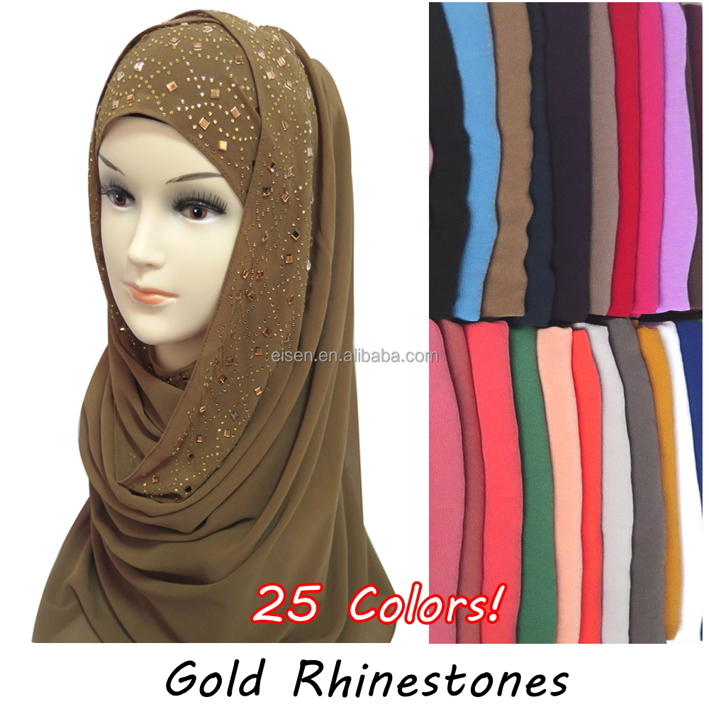 High Quality Gold Rhinestones Bubble Chiffon Hijab Scarf Muslim Islamic Head Wrap Cover Plain Colours