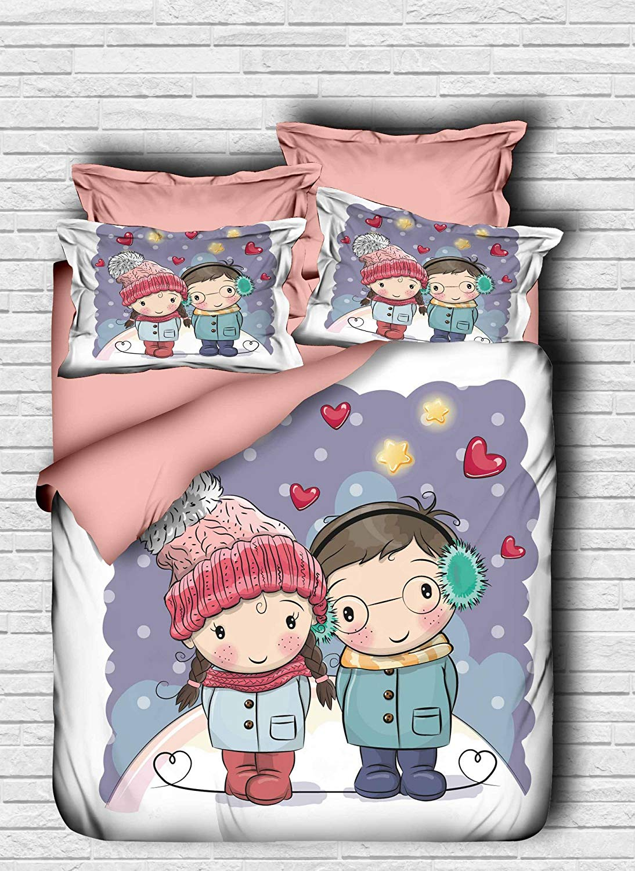 3 Pcs Luxury Double Quilt Duvet Cover Set [Duvet Cover & Pillowcase (Upperside 100% Polyester Microsatin) (Underside 100% Cotton)] Boy Girl Winter Stars Heart Hat Snow Cold Coat Freckle Multicolor