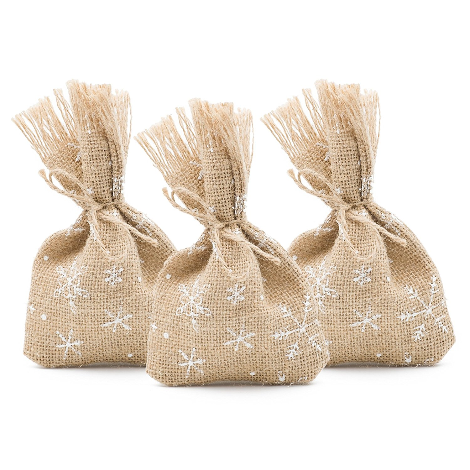 Ella Celebration 25 Winter Favor Gift Bags Burlap and White Snowflakes, 4 x 6 Inch, Christmas Wedding Party Decorations (White Snowflakes)
