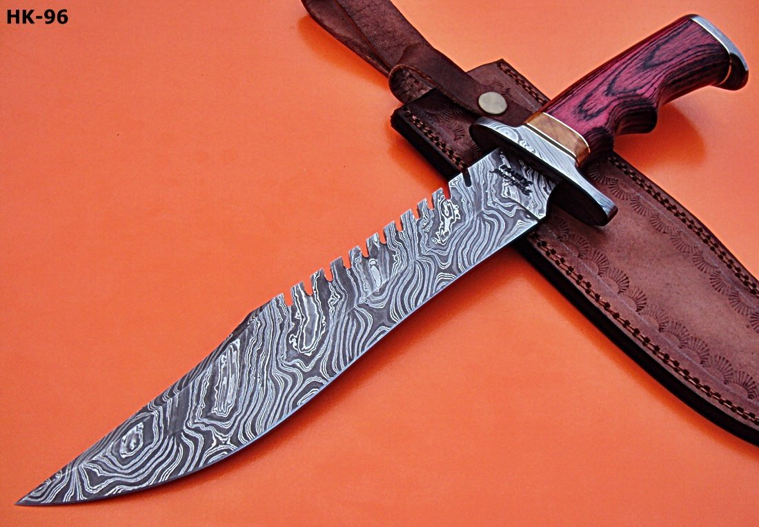 REG-HK-96 Handmade Damascus Steel 15.2 inch Hunting Knife - Stunning Exotic Red Pakka Wood Handle with Damascus Steel Guards