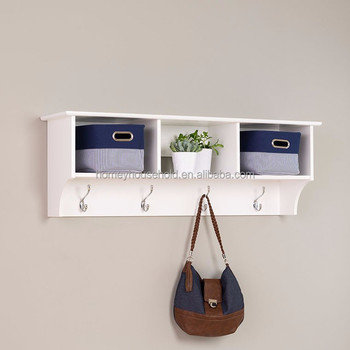 Small Decorative White Wooden Wall Mounted Shelf For Storage With Showcase