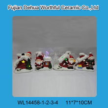Personalized ceramic christmas lighted houses with santa claus/snowman figurine
