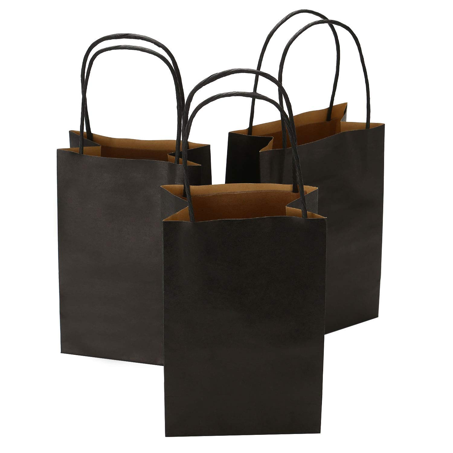 1fff228fdf3 Get Quotations · Road 5.25 x 3.25 x 8 Inches 100pcs Black Kraft Paper Bags  with Handle