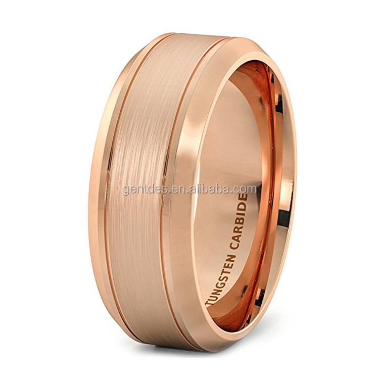 Eternity Rose Gold 8mm Men Tungsten Ring Wire Brushed Double Groove Beveled Edge Comfort Fit