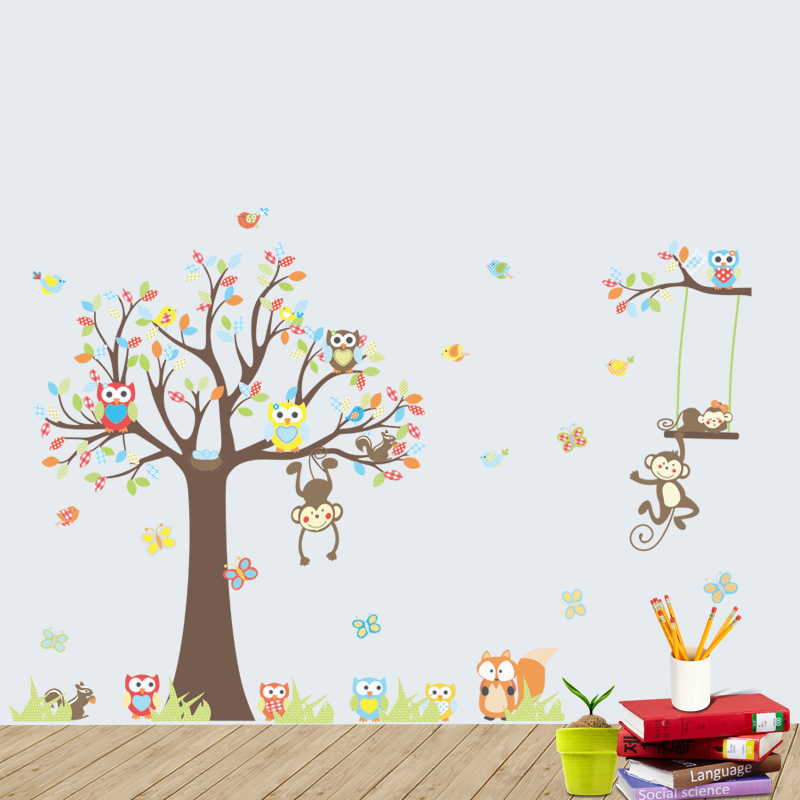 ZY1212 Removable Kids Room Owl Monkey Tree 5D Home Decor PVC Wall Sticker