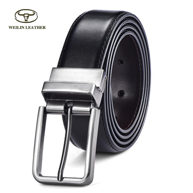New Item Smooth Genuine Cowhide Leather Belts Real Leather Men Dress Belt