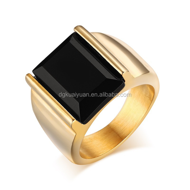 Fashion 18kgp white Gold Plated Stainless Steel Single Black Stone