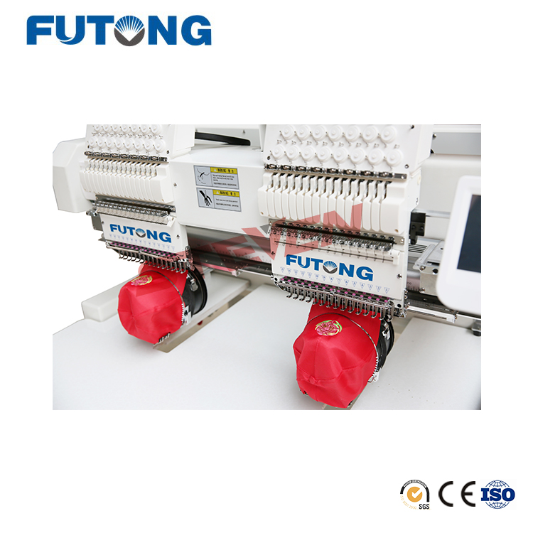 Futong High Speed Commercial 12 Colors Computerized Two Heads Embroidery Machine