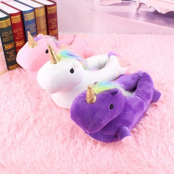 2018 New Factory Direct Sale Plush Unicorn slippers For Winter Women Girl