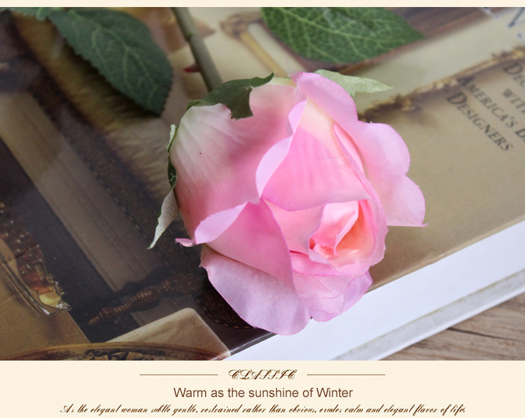 single silk mini cheap rose bud for office decoration