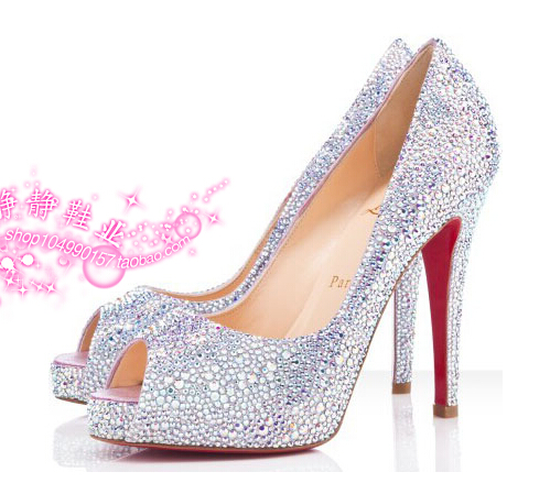 7b8d9345239e Get Quotations · Red sole shoes open toe high-heeled shoes sandals  rhinestones rhinestone shenzhou-7 women s
