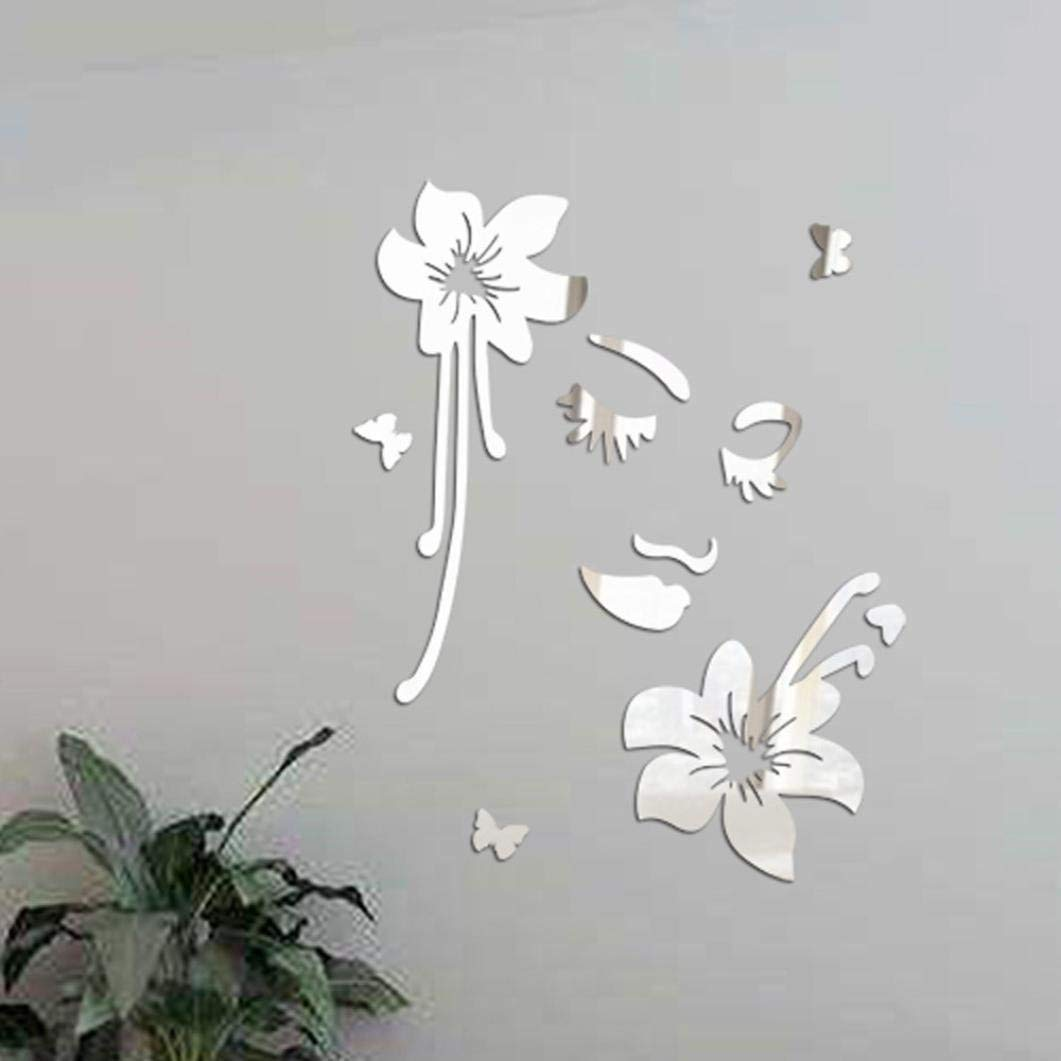Shubuy 3D DIY Acrylic Flowers Mirror Wall Stickers, Modern stickers Vinyl Removable Wall Sticker Floor Stickers Decal Art Room Living Room Bedroom bathroom and wardrobe Home Decor (Silver)