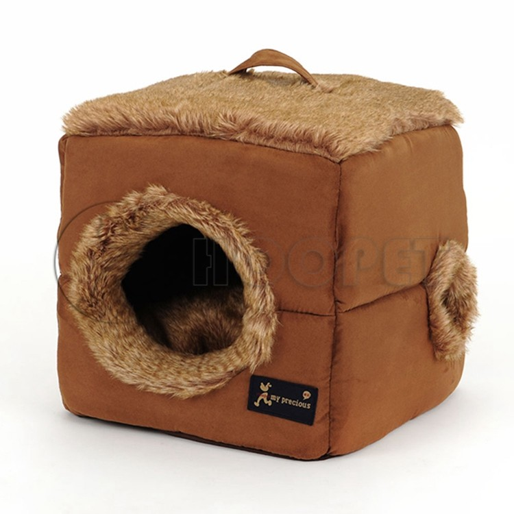 Hoopet Cubic Style Soft Fake Fur Covered Pet Beds For Dog