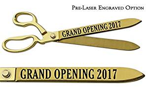 """Pre-Laser Engraved """"GRAND OPENING 2018"""" 15"""" Gold Plated Ceremonial Ribbon Cutting Scissors"""