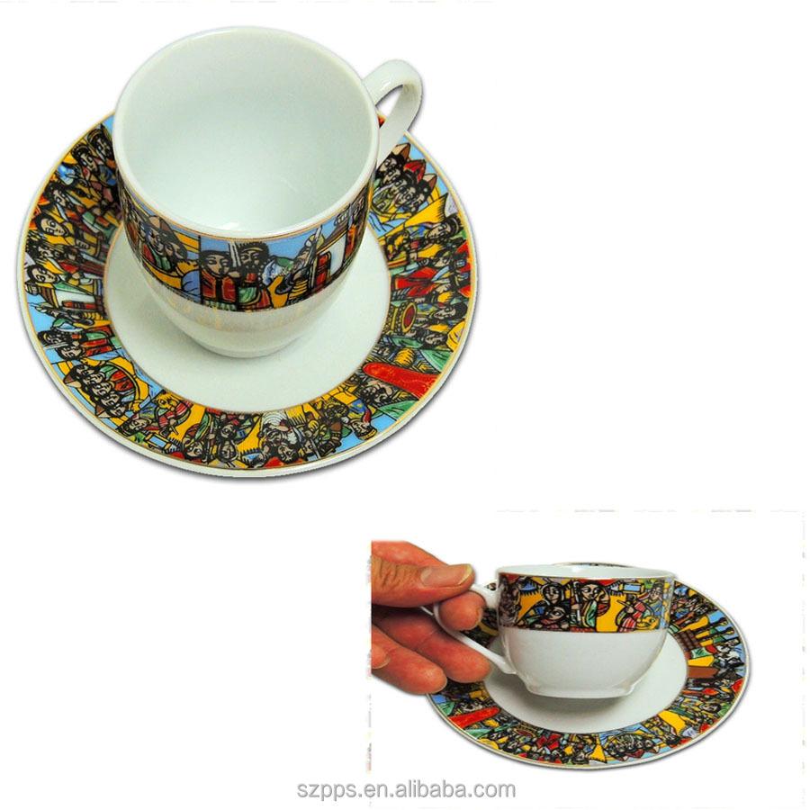 Jebena Bunatraditional Ethiopian Fine Porcelain Coffee Cups Traditional Sheba Art Buna Set Product