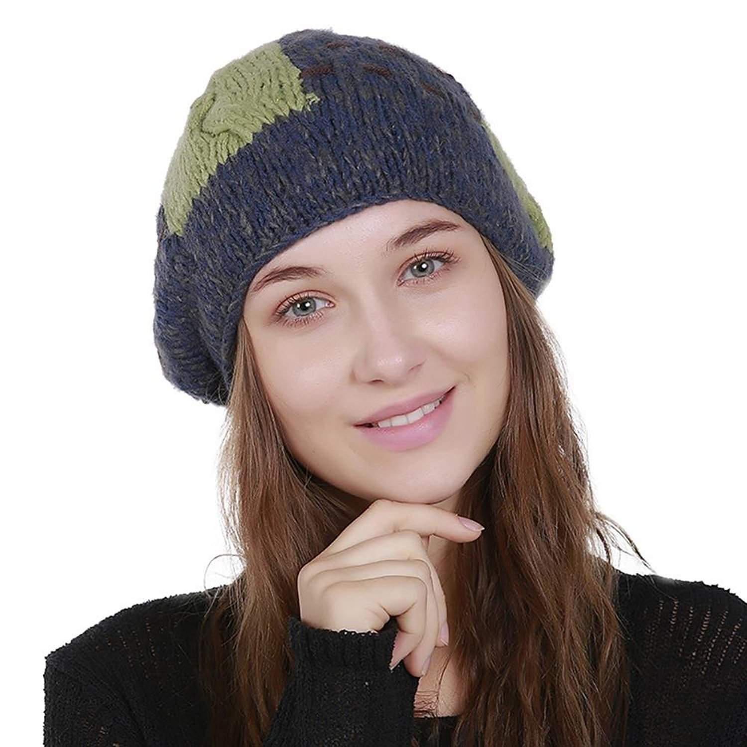 e2b7bd7073f Get Quotations · Fheaven Women s Winter Oversized Chunky Soft Oversized  Cable Crochet Knit Slouchy Pom Pom Beanie