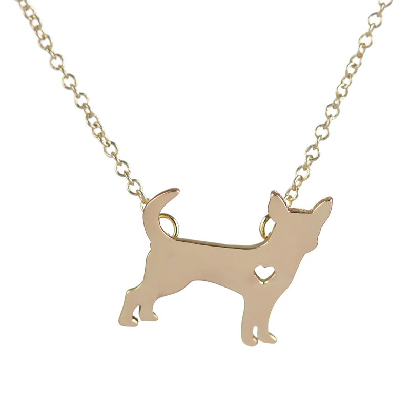 2016 New Chihuahua Necklace Puppy Heart Dog Lover Memorial Pet Necklaces & Pendants Women Animal Necklace Party Gift XL201