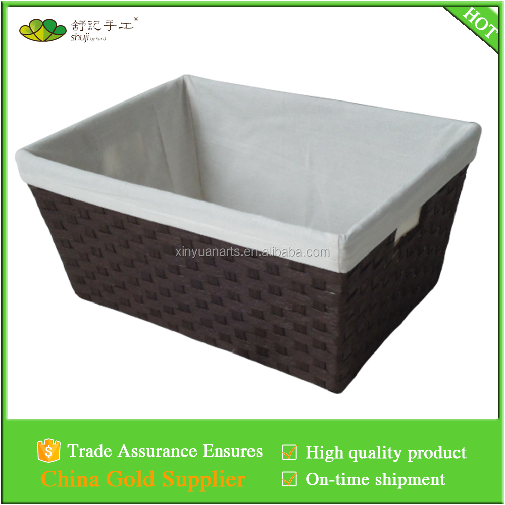 paper rope woven taper storage basket with remove liner and hole handles