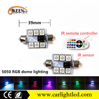 2016 KEEN New RGB led festoon bulb c5w remote control smd 5050 39mm 6 smd colorful led car interior led kit