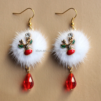 White Real Fur Ball Christmas Anlter Deer Earrings Christmas Animal Earrings Gift