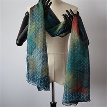 Digital printed 100% polyester silk feel scarf