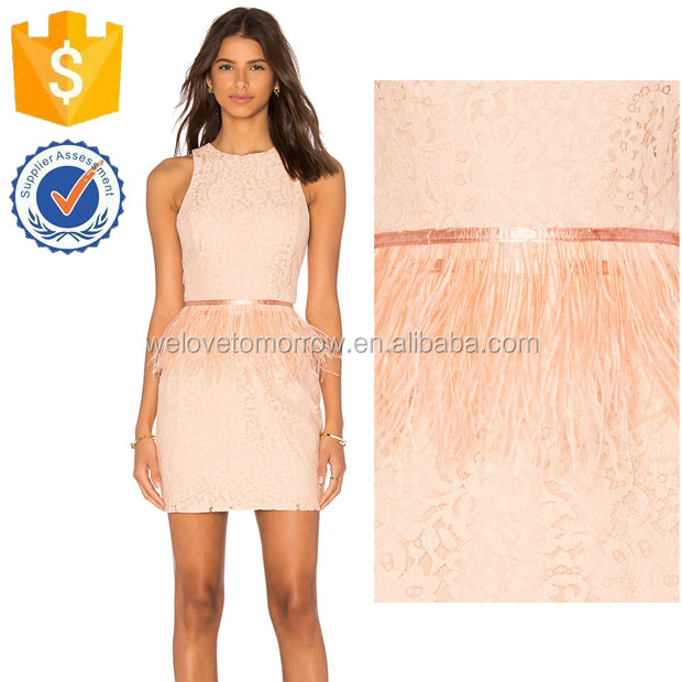Nude Pink Lace f\Fearher Peplum Backless Mini Dresses For Ladies Manufacture Wholesale Fashion Women Apparel (TF0848D)