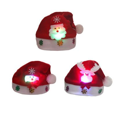 Decoration supplies adults/baby christmas hat with light up, christmas cap for any size