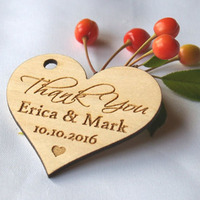 Rustic Heart Wedding Crafts Wooden Tag Name Brand Laser engrave hanging Tag