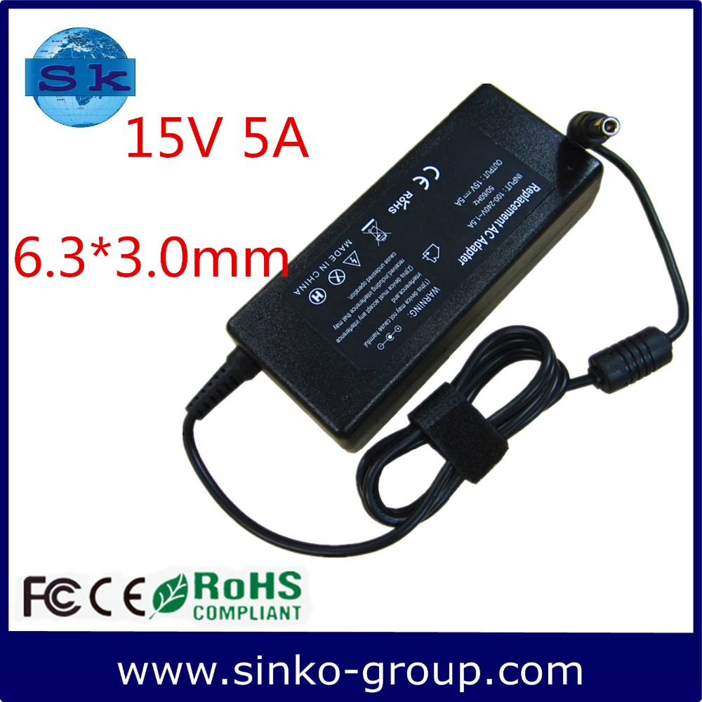 good quality 15V 5A 6.3*3.0mm laptop adapter charger power supply suitable for TOSHIBA