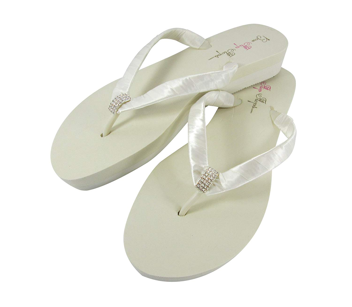 f9039c2fb1fe Get Quotations · Emerald Cut Bridal Wedge Flip Flops in Low Flat or High  Platform Heel Ivory or White