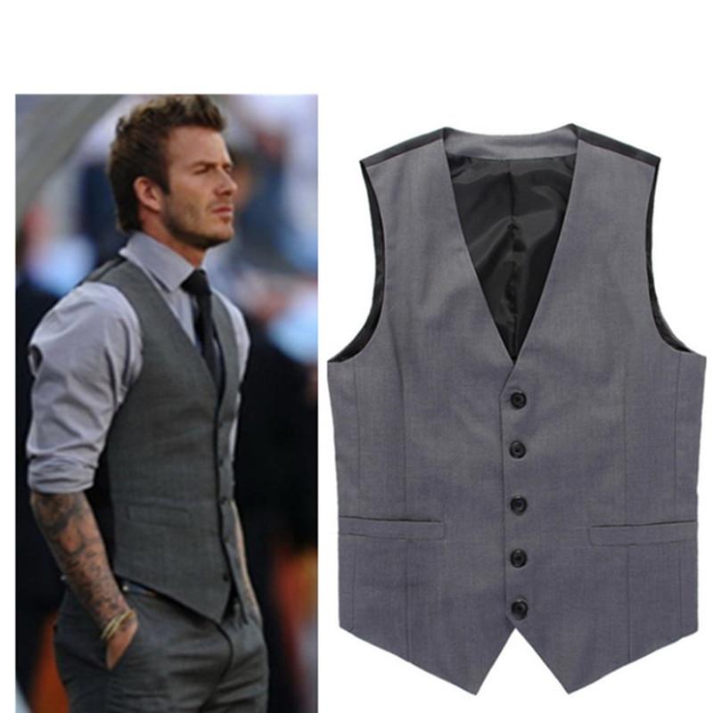 Compre 2017 Venta Caliente Gris Slim Fit Chalecos De Vestir Para Hombres David Beckham Formal Para Hombre Traje De Boda Chaqueta Sin Mangas Blazer