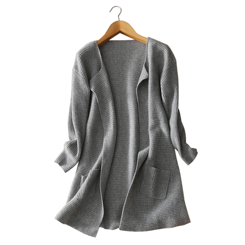Women s long thick 100 pure cashmere knitting cardigan coat V neck open stitch font b