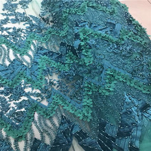 Nice green lace dress fabric handmade beaded tulle nigerian lace fabric