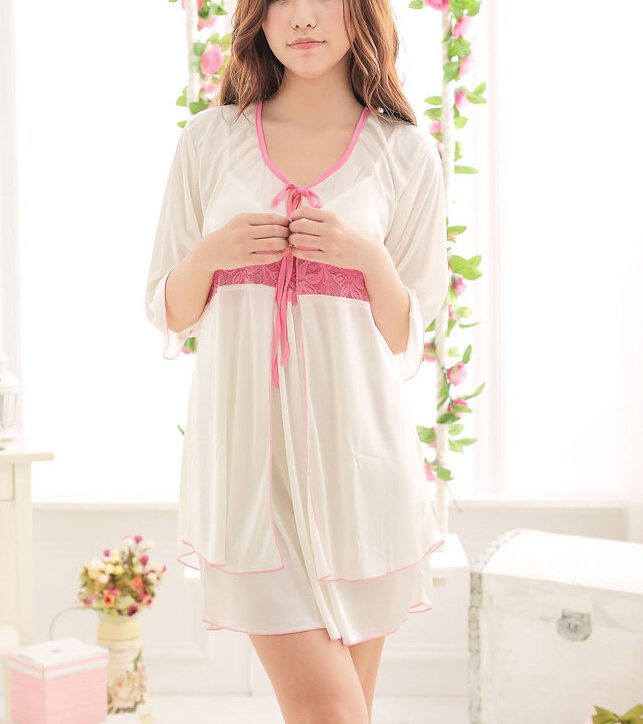Get Quotations · New summer ice silk white lace two piece Ladies Sexy Dress  sleepwear short sleeved summer Nightgown c0d6dfa5c